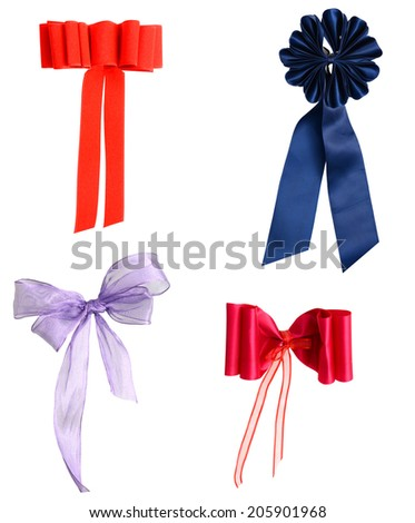 set of ribbon bows on white background