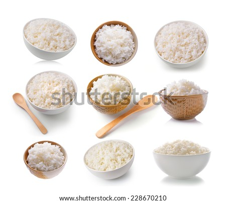 set of Rice in a bowl on a white background - stock photo