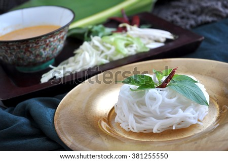 Set of rice noodle dish with spicy sauce and fresh vegetables - stock photo
