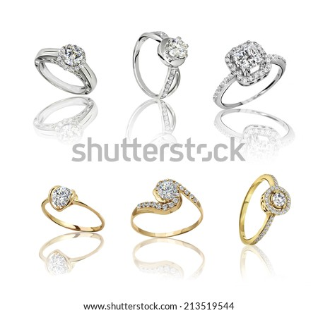 Set of rings. Best wedding and engagement ring - stock photo