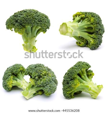 Set of ripe broccoli isolated on white background - stock photo