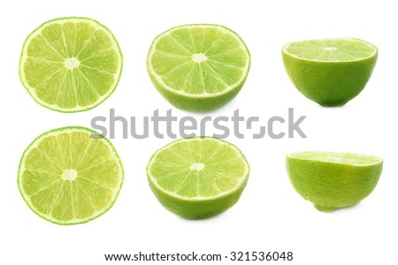 Set of ripe fresh lime cuts in half isolated over the white background, three different foreshortenings - stock photo