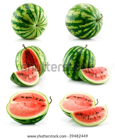 Set of Ripe Green Watermelon Fruits Isolated on White Background