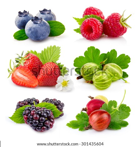 Set of ripe summer (blackberry, blueberry, gooseberry, strawberry, raspberry) berries isolated on white - stock photo