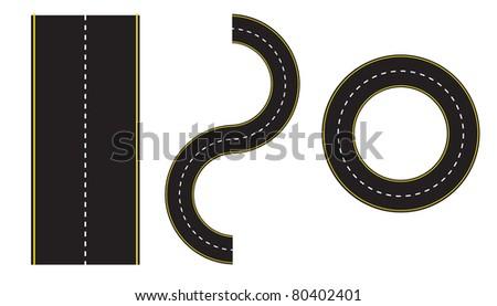 set of road illustration design over a white background - stock photo