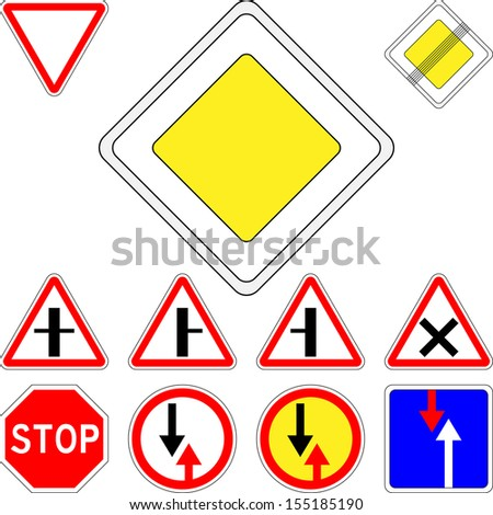 set of road signs priority