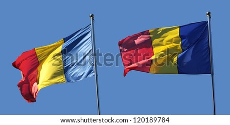 Set of 2 Romanian flags in different positions with blue background