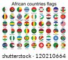 set of round buttons with flags of Africa - stock photo