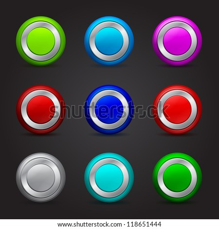 set of round buttons with glossy effect - stock photo