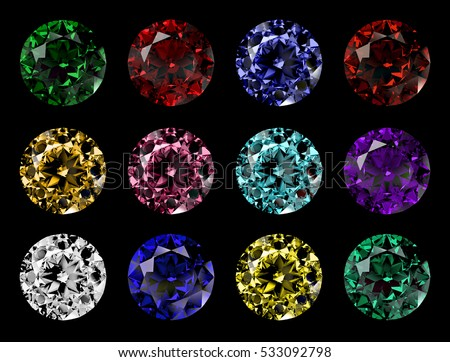 Set of 12 round cut gems of various colors, top view isolated on black background