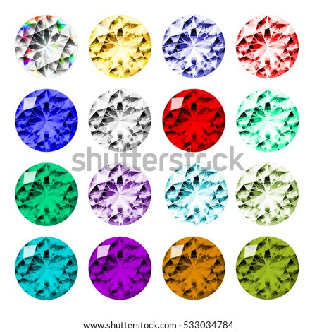 Set of 16 round cut gems of various colors, top view isolated on white background