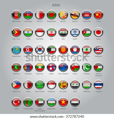 Set of round glossy flags of all sovereign countries of Asia with captions in alphabet order.  Contain the Clipping Path of all buttons - stock photo