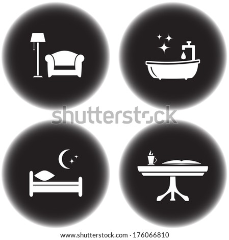 set of round icons for hotel services