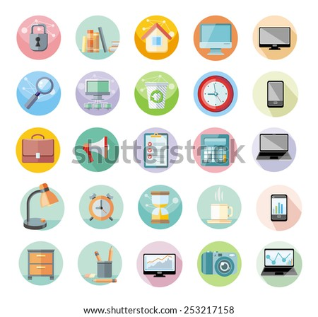 Set of round icons for office and time management with digital devices and office objects on white background. Raster version - stock photo