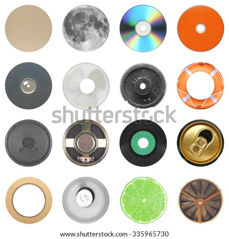 Set of 16 round objects including beer mat full moon cd diskette fan gear lifebuoy speaker vinyl record beer can adhesive tape light lime slice isolated over white background - stock photo