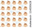 Set of round smilies with brown hair, symbolising various human emotions on white background - stock vector