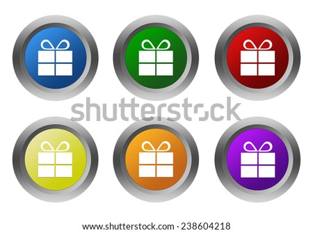 Set of rounded colorful buttons with gift symbol in blue, green, yellow, red, purple and orange colors - stock photo