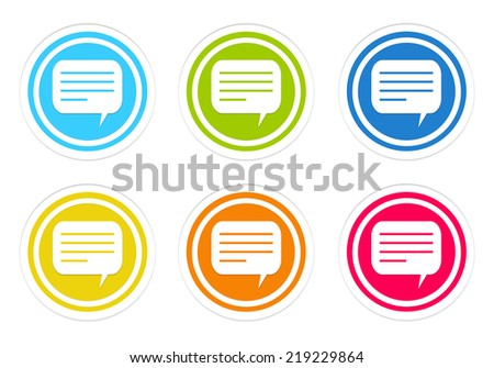 Set of rounded colorful icons with conversation symbol in blue, green, yellow, red and orange colors - stock photo