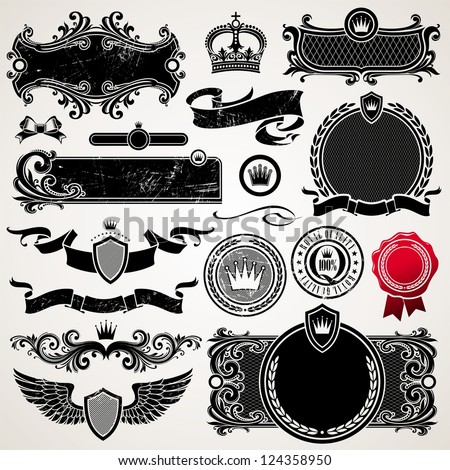 Set of royal ornate frames and elements - stock photo