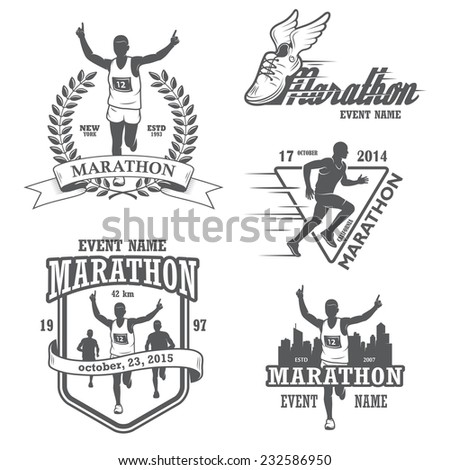 Set of running marathon and jogging emblems, labels and badges. isolated illustration - stock photo