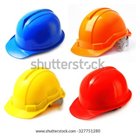 Set of safety helmet on white background, hard hat isolated. - stock photo