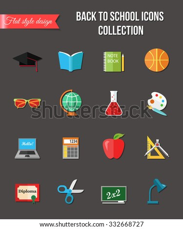 Set of sale and shopping flat icons for design. Busket, shoes, perfume, lipstick, bag.