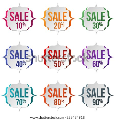 Set of sale labels on a white background. Sale, discount theme. Sale up to 90 percent text. Vector illustration. - stock photo