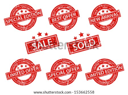 Set of sale rubber stamp with star - stock photo