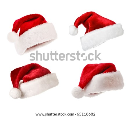 Set of Santa Claus hats  - Christmas concept - stock photo