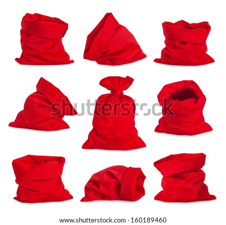 Set of Santa Claus red bags, isolated on white background