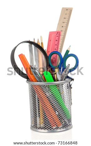 set of school accessories isolated in holder on white background - stock photo