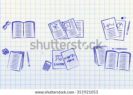 set of school books and textbooks about maths, chemistry, literature, statistics