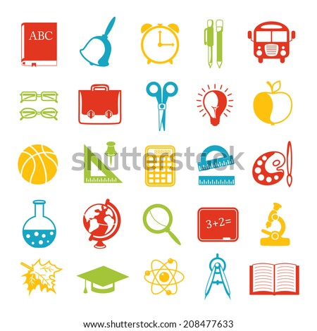 set of school icons, brightly colored