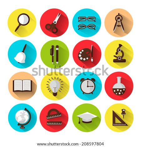 set of 16 school icons, brightly colored - stock photo