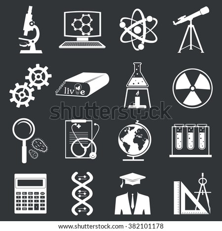 set of science stuff icon.