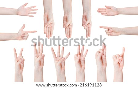 set of scoring hand gesture isolated on white background