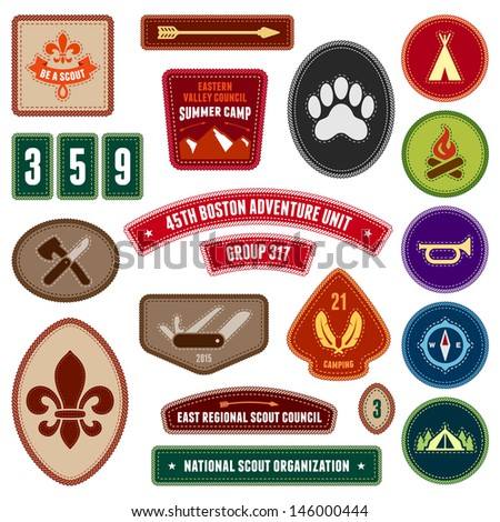 Set of scouting badges and merit badges for outdoor activities - stock photo