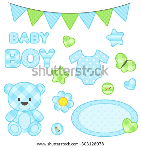 Set of scrapbook elements for boy in blue color. Raster version - stock photo