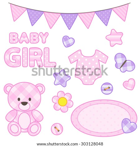 Set of scrapbook elements for girl in pink color. Raster version - stock photo