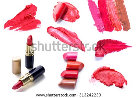 set of Scratch lipstick, and make up cosmetics collection - stock photo