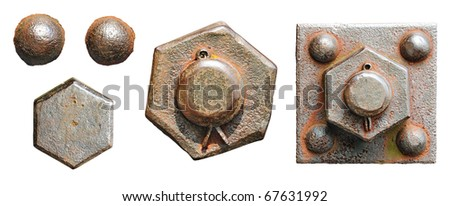 Set of screw-bolts of isolated on a white background - stock photo