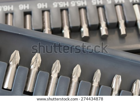 Set of Screwdrivers on Tool box, category of Tools - stock photo