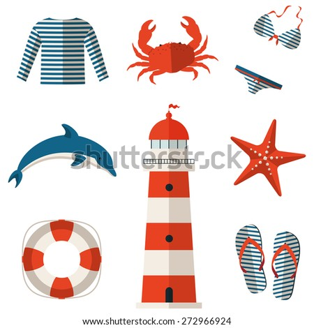 Set of sea and beach flat icons. Collection of design elements. Raster illustration. - stock photo