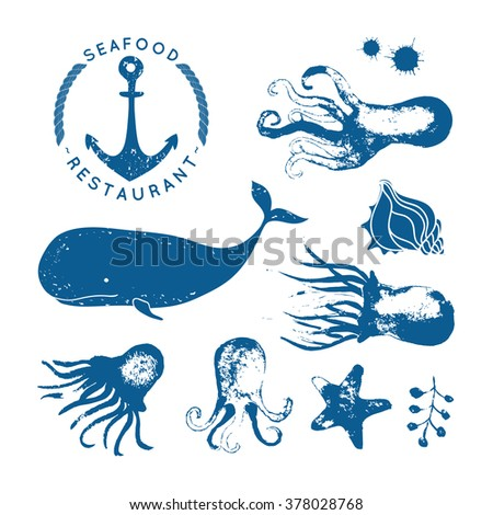 Set of sea animals. Blue background. Stamp. Hand drawn elements with rough edges.