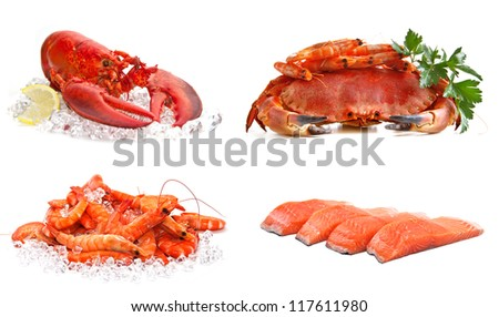Set of sea food on a white background. Crab, shrimps, lobster, salmon. - stock photo