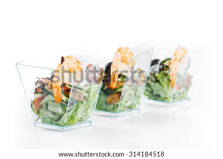 set of seafood canapes on white background studio isolated - stock photo