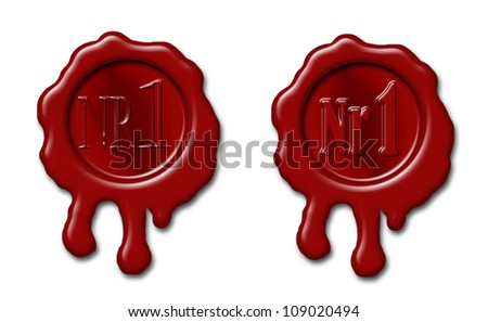 "Set of sealing wax stamps with mark ""Nr 1"" embossed - stock photo"