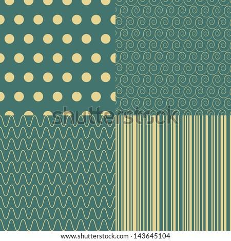 Set of Seamless abstract retro patterns. Stylish geometrical backgrounds. - stock photo
