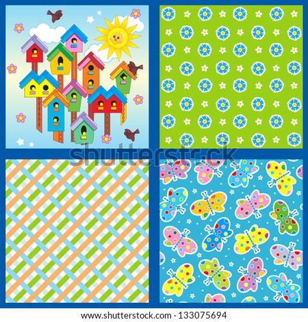 Set of 4 seamless backgrounds or wallpapers with floral, butterflies, birdhouses and geometric patterns ( for vector EPS see image 133440269 )