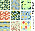 Set of 9 seamless backgrounds: Raster version - stock photo